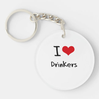 I Love Drinkers Single-Sided Round Acrylic Keychain