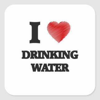 I love Drinking Water Square Sticker