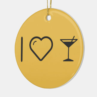 I Love Drinks Sips Double-Sided Ceramic Round Christmas Ornament