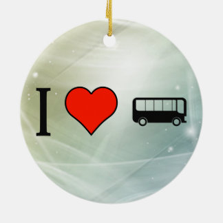 I Love Driving A Bus Double-Sided Ceramic Round Christmas Ornament