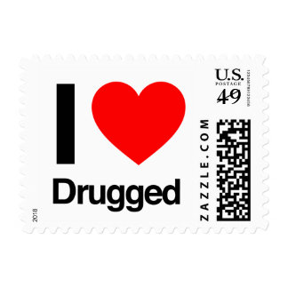 i love drugged postage stamp