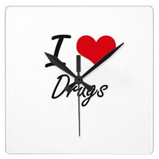I love Drugs Square Wall Clock