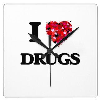 I love Drugs Square Wallclock