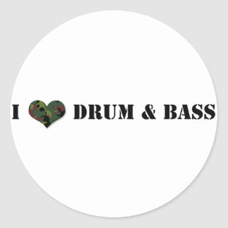 I Love Drum and Bass Classic Round Sticker