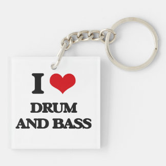 I Love DRUM AND BASS Double-Sided Square Acrylic Keychain