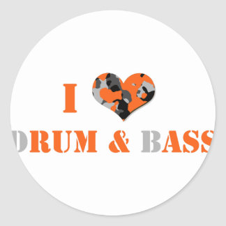 I love dRUM & bASS (Orange) Classic Round Sticker