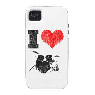 I Love Drums Distressed Vibe iPhone 4 Case