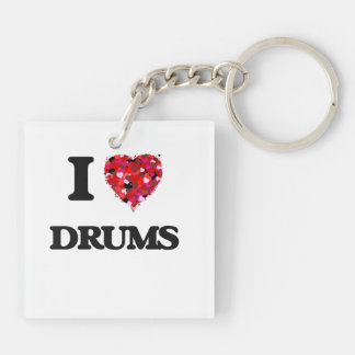 I love Drums Double-Sided Square Acrylic Keychain