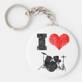I Love Drums Basic Round Button Keychain