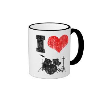 I Love Drums Ringer Coffee Mug