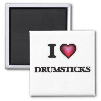 I Love Drumsticks 2 Inch Square Magnet