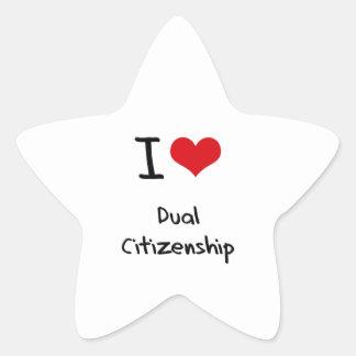 I Love Dual Citizenship Star Stickers