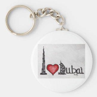 I Love Dubai Basic Round Button Keychain