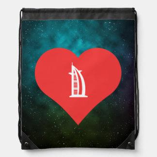 I Love Dubai Cool Symbol Drawstring Backpack