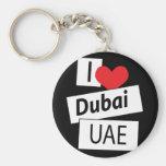 I Love Dubai UAE Basic Round Button Keychain