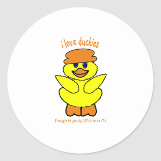 I LOVE DUCKIES - LOVE TO BE ME ROUND STICKERS