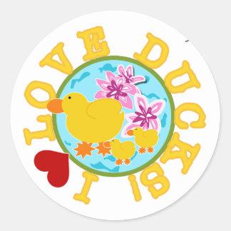 I Love Ducks Classic Round Sticker