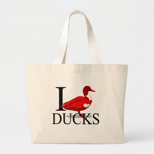 I Love Ducks Tote Bags