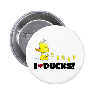 I Love Ducks Tshirts and Gifts Button