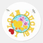 I Love Ducks Tshirts and Gifts Round Sticker