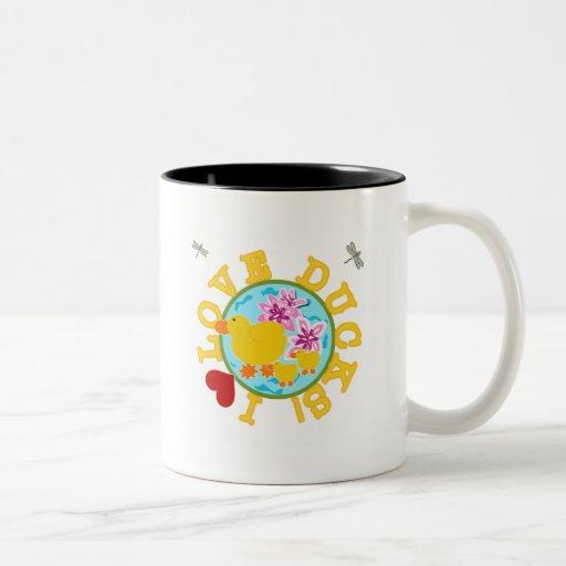 I Love Ducks Tshirts and Gifts Two-Tone Coffee Mug