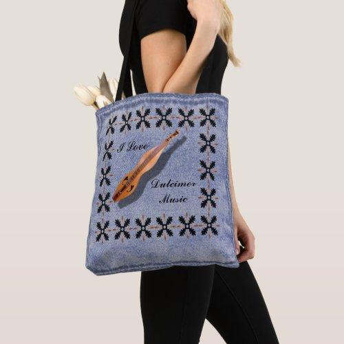 I Love Dulcimer Music Faux Denim All-Over-Print Tote Bag