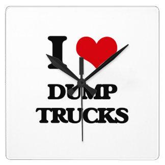 I love Dump Trucks Square Wall Clocks