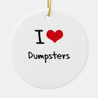I Love Dumpsters Double-Sided Ceramic Round Christmas Ornament