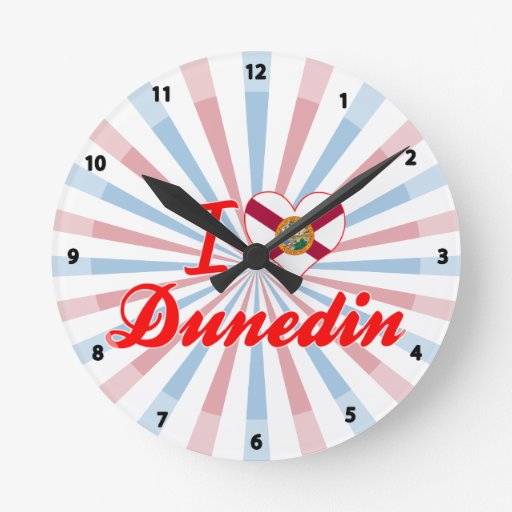 I Love Dunedin, Florida Round Wall Clocks