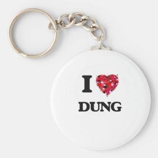 I love Dung Basic Round Button Keychain