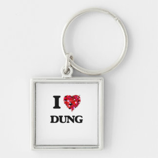 I love Dung Silver-Colored Square Keychain