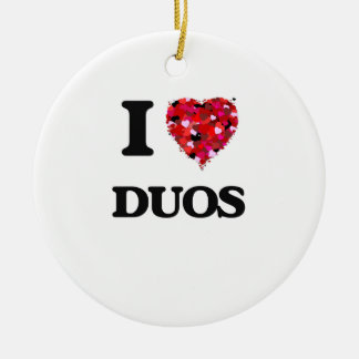 I love Duos Double-Sided Ceramic Round Christmas Ornament