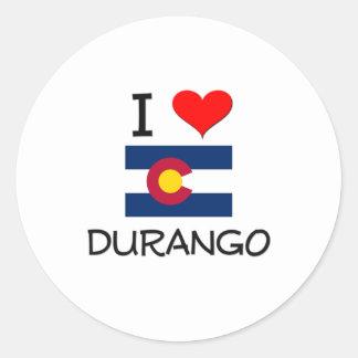 I Love DURANGO Colorado Classic Round Sticker