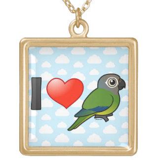 I Love Dusky-headed Conures Square Pendant Necklace