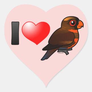 I Love Dusky Lories Heart Sticker