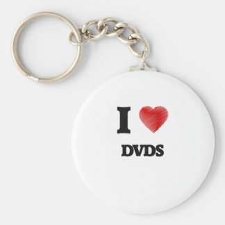I love Dvds Basic Round Button Keychain