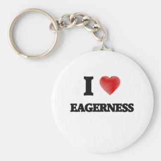 I love EAGERNESS Basic Round Button Keychain