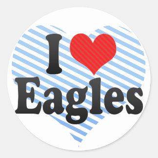 I Love Eagles Round Stickers