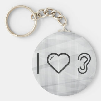 I Love Ear Types Basic Round Button Keychain