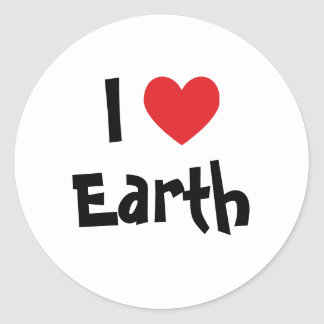 I Love Earth Classic Round Sticker