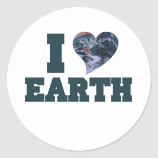 I Love earth day Classic Round Sticker
