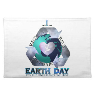 I Love Earth Day Cloth Place Mat