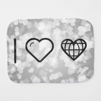 I Love Earth Hearts Baby Burp Cloth
