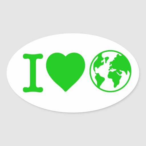 I Love Earth Oval Sticker