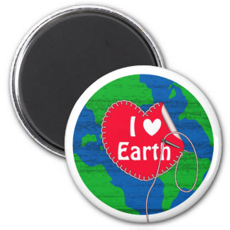 I love earth sewing heart 2 inch round magnet
