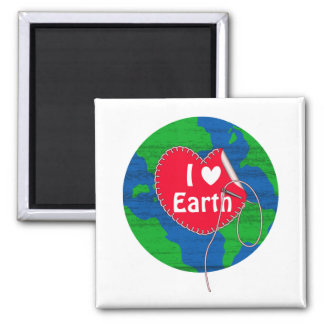 I love earth sewing heart 2 inch square magnet