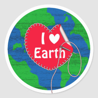 I love earth sewing heart classic round sticker
