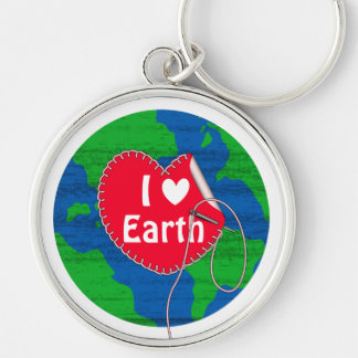 I love earth sewing heart keychain