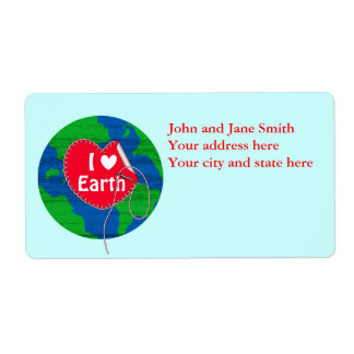 I love earth sewing heart label
