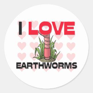I Love Earthworms Classic Round Sticker